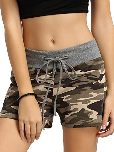 SweatyRocks Workout Yoga Shorts Pants Hot Shorts for Women Camouflage X-Small