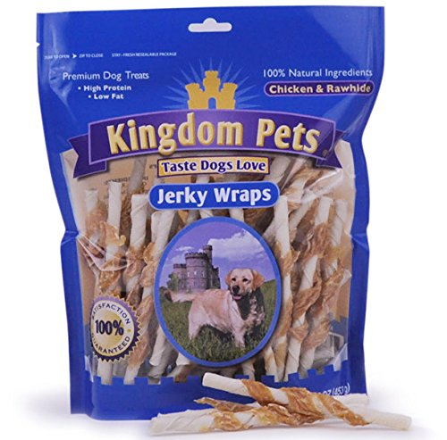 Kingdom Pets Filler Free Chicken Jerky & Rawhide Wraps, Premium Treats for Dogs, 16-Ounce Bag