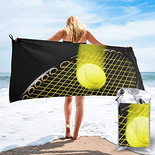 Toallas de Playa sin Arena Pelota de Raqueta de Tenis Toalla de baño súper Absorbente de Secado rápido para Nadar y al Aire Libre, Toalla de Yoga portátil para niños Adultos