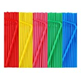 500 Pcs Colorful Disposable Plastic Flexible Straws.(0.23'' diameter and 7.7' long)