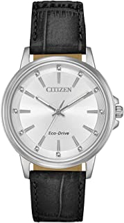 Citizen Women's Solar Powered Wrist watch, Leather Strap analog Display and Leather Strap, FE7030-14A