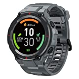 Rugged Outdoor Watches for Men, AllCall Smart Watch IP68 Waterproof, Fitness Tracker with Blood Pressure Monitor, Calorie Counter, Smartwatch for iOS Android, Grey