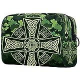 Bolsa de maquillaje con diseño de cruz celta y tréboles, bolsa organizadora para viajes, portátil, para niñas, mujeres