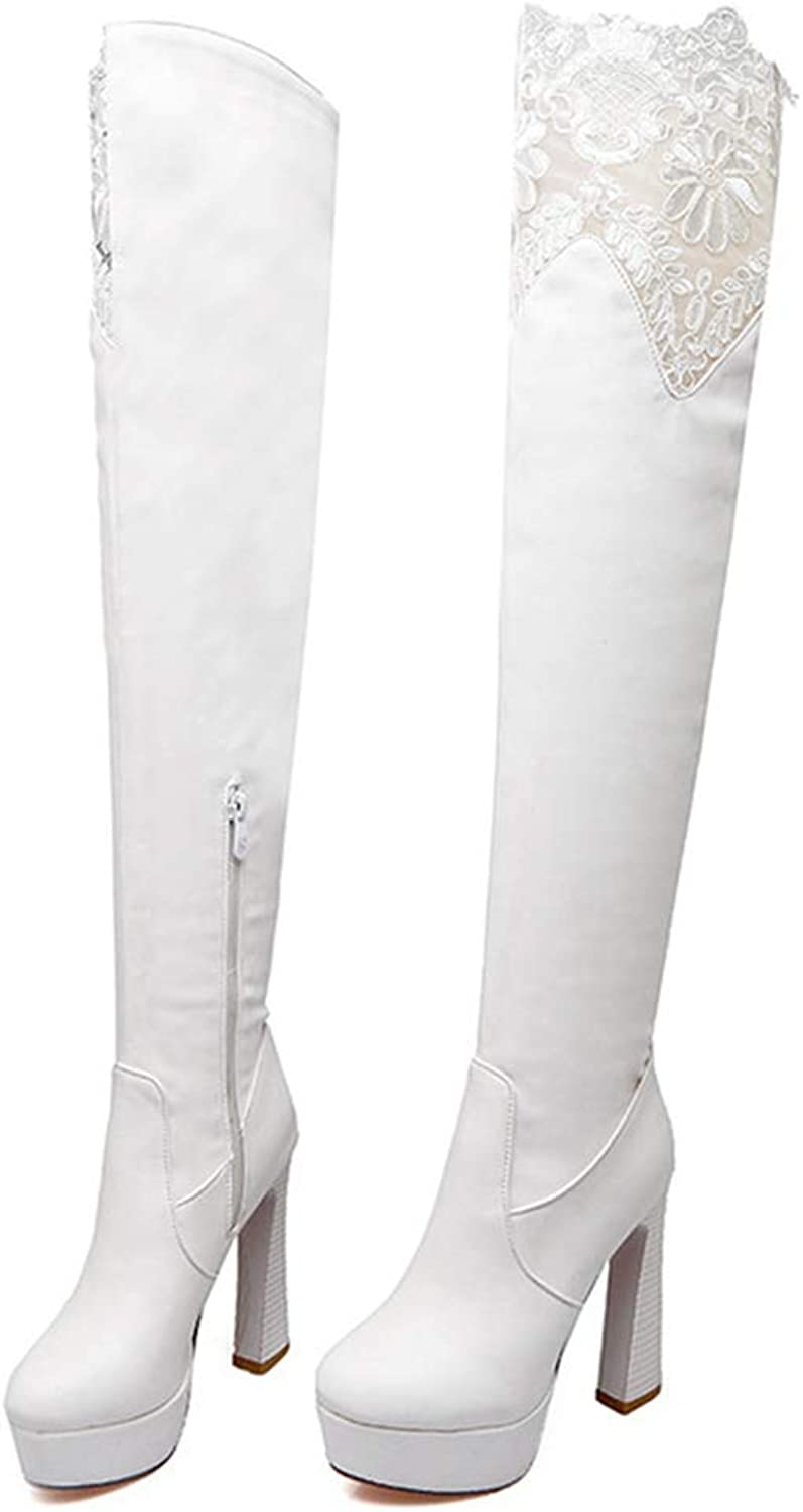 GEORPE Over The Knee Boots Leather Platform High Heel Thigh High Boots