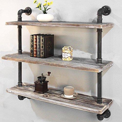 Industrie Rohr Bücherregal Regal Ablagen Rustikal Wand montiert Floating Holz Regal 36'' Braun