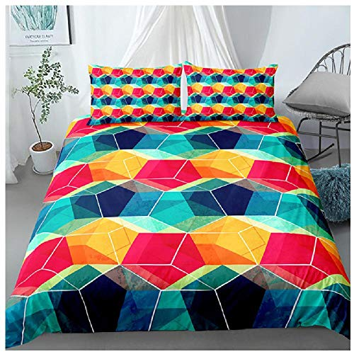 BAIYANG Cute Color Geometic Home Textile Printed Bedding Sets Queen Duvet Cover Pillowcase Bed Set For Teen Adult King Size Single(135x200cm)