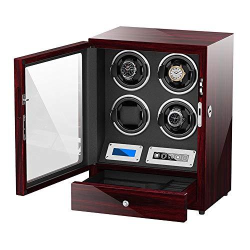 Jlxl Caja Enrolladora Reloj para 4 Reloj Automático Pantalla Táctil Adaptador CA y Batería Motor Silencioso Accesorios (Color : Red)
