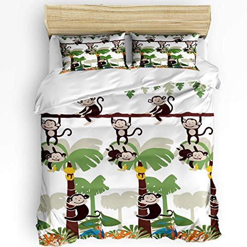 REAlCOOL 3 Piece Bedding Set Quilt Cover Set Monkey Tree Jungle Zoo Duvet Cover Set with 2 Pillow Shams for Kids/Teens/Adults/Toddler