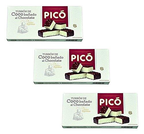 Picó - Il pacchetto include 3 Turrón de Coco bañado al Chocolate - Torrone di coco immersa nel cioccolato - qualità 200 g suprema