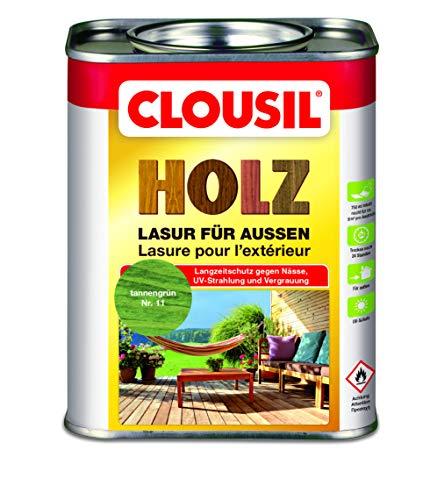 CLOUsil Holzlasur Holzschutzlasur für außen tannengrün Nr. 11, 0.75L: Wetterschutz, UV-Schutz, Nässeschutz und Schimmel für alle Holzarten - in verschiedenen Farben