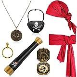 Set de 7 Accesorios de Disfraz de Pirata Bandana de Pirata Capitán Telescopio de Juguete Cinturón de Disfraz Parches Oculares Collar de Moneda Divertido Aretes Brújula para Halloween Niños