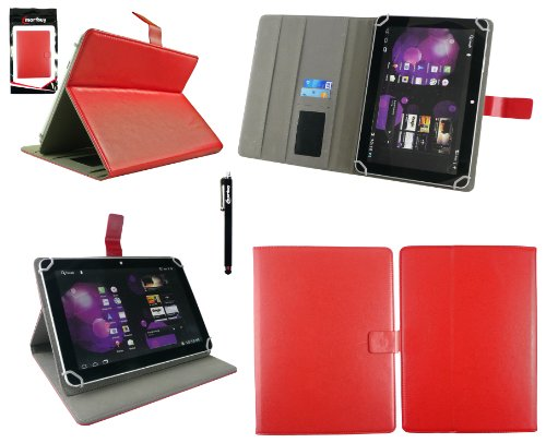 Emartbuy® Denver TAQ-10133 10.1 Zoll Tablet Universalbereich Rot Multi Winkel Folio Executive Case Cover Wallet Hülle Schutzhülle mit Kartensteckplätze + Schwarz Eingabestift
