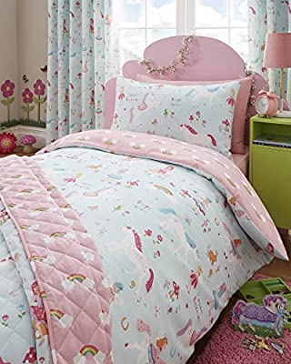 Kidz Club Bedspread 150 x 200cm Magical Unicorns Lightly Quilted Throwover, Blue