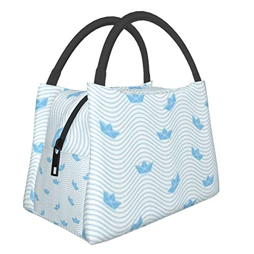 Bolsa de almuerzo portátil con aislamiento Cool (Barco Origami Sailing Ocean Pattern) 8.5L