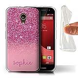 Stuff4 Personalizzato Effetto Glitterato Personalizzare Custodia/Cover Gel/TPU per Motorola Moto G (2014) / Rosa Design/Iniziale/Nome/Testo Caso/Cassa