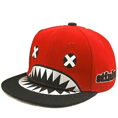 Belsen Kind Hip-Hop Hai Cap Baseball Kappe Hut (rot)