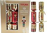 Toyland 10 Cracker Natalizi schiaccianoci Argento Rosso Deluxe Regali Joke 14'