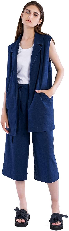 ETNODIM Women Base Linen Suit Flax Casual Suit Business Suit Cotton Suit bluee Suit