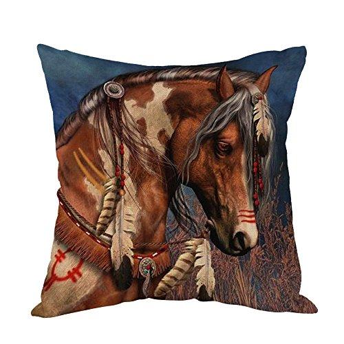 Moslion Dekorativer Kissenbezug mit indischem Pferd, aus Baumwollleinen, quadratisch, braunes Pferd, für Männer, Jungen, Wohnzimmer, Schlafzimmer, Sofa, 45,7 x 45,7 cm