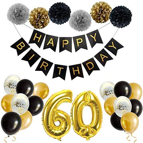 Feelairy 60. Decoraciones de Cumpleaños Oro Negro -  Guirnalda de Feliz Cumpleaños,  Pompones de Papel,  Gigantes Globos Papel de Aluminio Número 60 Fiesta de Cumpleaños para Hombres,  Mujeres,  Adultos