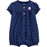 Carter's Baby Girls Polka Dot Strawberry Romper 18 Months Navy Blue