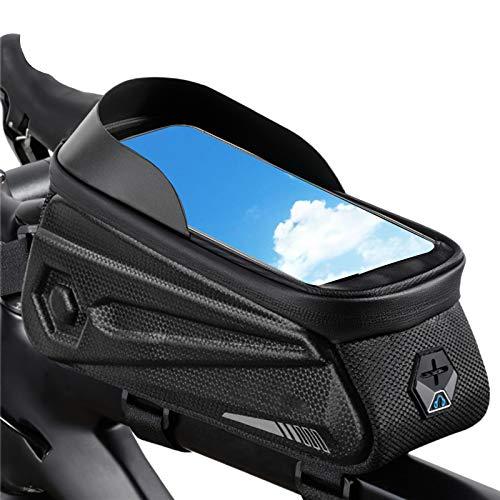 UNISOPH Tubo superior para bicicleta, bolsa para teléfono con marco para bicicleta delantera de gran capacidad, funda impermeable para accesorios de ciclismo, bolsa de bicicleta