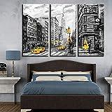 Lona Pinturas HD imprime cartel del arte abstracto de la pared Cuadros 3 Piezas Nueva York Calle Taxi amarillo de coches Decoración modular que cuelgan pinturas (Size (Inch) : 30cmx60cmx3pcs)