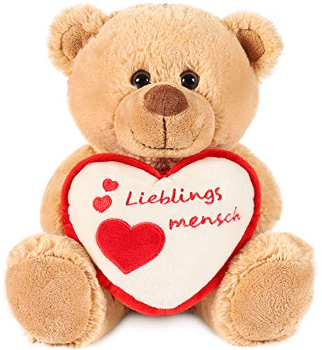 Brubaker Teddy Plüschbär mit Herz Rot Beige - Lieblingsmensch - 25 cm - Teddybär Plüschteddy Kuscheltier Schmusetier - Braun Hellbraun