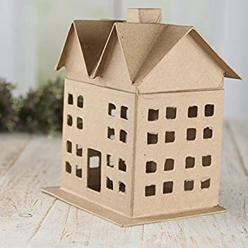 Factory Direct Craft Ready to Decorate 6 Inch Paper Mache Houses