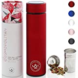 Teabloom All-Purpose Beverage Tumbler - 16 oz - 480 ml - Brushed Metal Insulated Water Bottle/Tea...