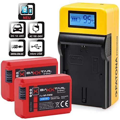 Baxxtar Set - (2X) Compatible avec Batterie Sony NP-FW50 (1080mAh) et Chargeur LCD 5en1   Sortie USB pour Charger Un troisième Appareil Que Smartphone …