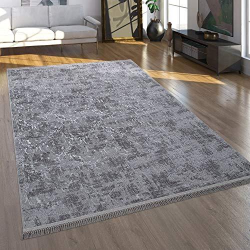 Paco Home Tapis De Salon Tapis Poils Ras De Salon Au Look Oriental Lavable Gris Anthracite, Dimension:120x180 cm