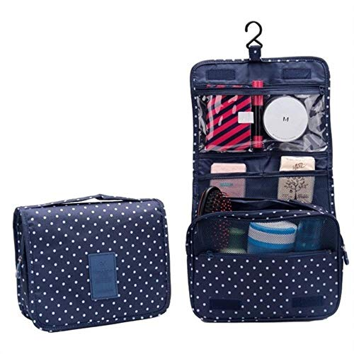 Linwei Waterproof Portable Polyester Travel Cosmetic Bag Neceser Hanging Wash Bag Neutral Make Up Bag Organizer,Black Spots