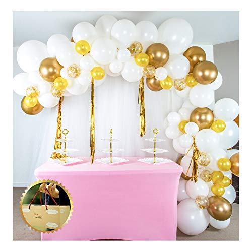 SHIMMER & CONFETTI White and Gold Chrome Balloon Garland and Arch Kit with Confetti Balloons, Fishing Line, Tape, Tying Tools, and Glue
