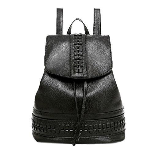 Bolso, Manadlian Mochila de viaje Mujer Mochila Ocio Estudiante Schoolbag Bolsa suave (27cm(L)*32cm(H)*17cm(W), Negro)