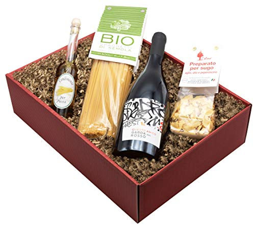 """Weinpräsent Geschenkset """"Aglio e Olio"""" mit italienischen Spezialitäten: Italienischer Feinkost und Rotwein (1 x 0,75 l, 13% vol.) Würzöl und Wein Garda Rosso Corvina 2018 trocken (1 x 0.75 l)"""