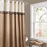 Lush Decor Beige/Ivory Terra Color Block Shower Curtain Fabric Striped Neutral Bathroom Decor, 72-Inch