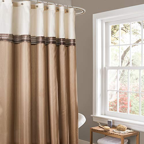Lush Decor Beige/Ivory Terra Color Block Shower Curtain...