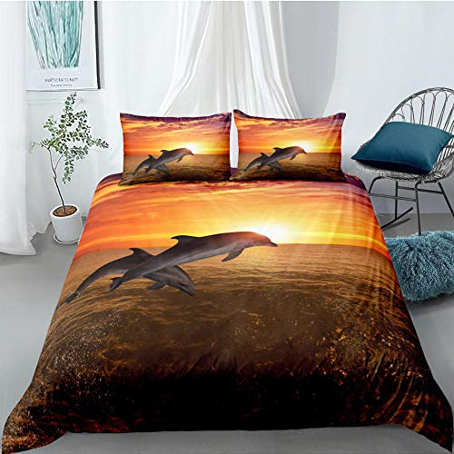 Hbvvaceo Bedding Set 3D Sea animal dolphin Print Duvet Cover with Pillowcases Men Teen Boys Kids Bedding Set with Zipper Closure Easy Care Single Double King Size - Single 135 x 200 cm Duvet cover Mi
