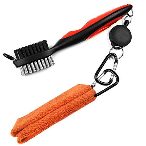 LeRan - Kit de limpieza para palos de golf, formado por cepillo retráctil y juego de toallas de microfibra 2en 1, con mosquetón de aluminio, Orange towel