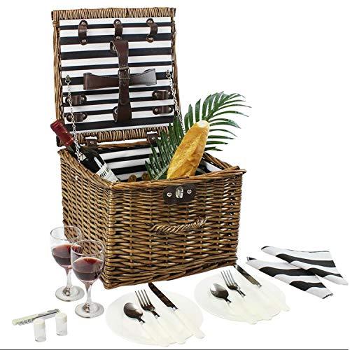 Cesta de picnic de mimbre, cesta de picnic de sauce para 2 personas, c
