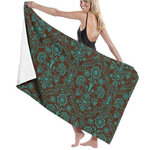 LREFON Toallas Vintage Floral Marrón Esmeralda para la Ducha,Toallas de baño, Fitness, Deportes al Aire Libre