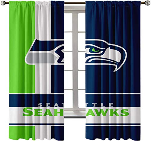Candice Seahawks Blackout Curtain (2 Panel) Rod Pockets Top Darkening Blackout Room Window Draperies for Living Room Bedroom Home