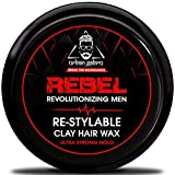 Urbangabru Rebel Hair clay Wax for Men - 100 Times Re-Styleable & Ultra Strong Hold with keratin...