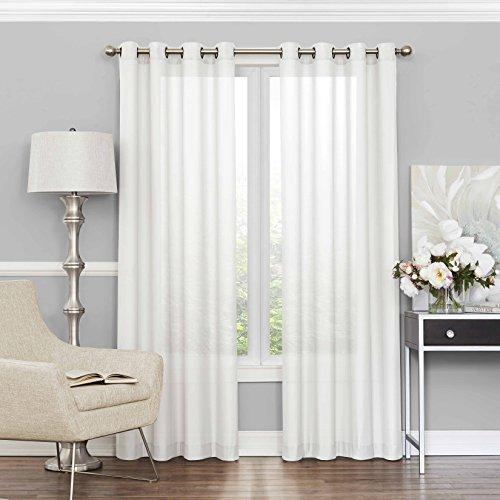 "ECLIPSE Sheer Bedroom-Liberty 52"" x 95"" Light Filtering Grommet Top Single Window Panel Curtain Living Room, White"