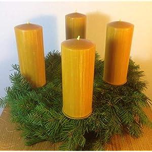 4 Stück Kerzen für den Adventskranz aus 100% Bienenwachs, 15 x 6 cm, Stumpen, handgemacht, Bienenwachskerze,gegossen…