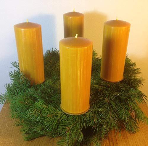 4 Stück Kerzen für den Adventskranz aus 100{f85c6c7e772a76f8cc79a5232961312b02b954f66851e9802eef25f60cfa6d8d} Bienenwachs, 15 x 6 cm, Stumpen, handgemacht, Bienenwachskerze,gegossen, direkt vom Imker aus Deutschland, Bayern, von der Bienenbude.