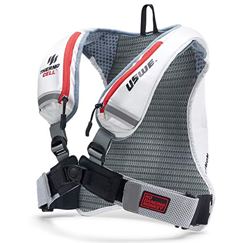 USWE Nordic 4 Litre Ski Backpack Winter Snow Hydration Pack with 20 Litre/ 70 Ounce Hydration Bladder for Men and Women Insulated with Thermo Cell Freeze Protection Bounce Free White