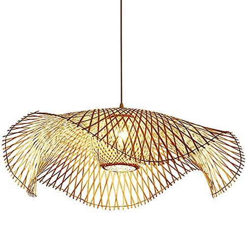 Lámpara colgante japonesa del sudeste asiático antiguo, luz simple de bambú tejido de mimbre, utilizado en sala de estar, comedor, sala de té, arte de bambú de bambú, nueva araña china creativa