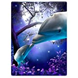 SXCHEN Blanket Throw Late Night Forest Blue Whale 2 Dolphins 60x80 inch